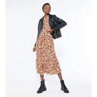 Brown Floral Frill Neck Midi Dress New Look
