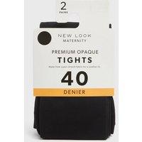 Maternity 2 Pack Black Premium Opaque 40 Denier Tights New Look