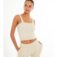 Off White Chunky Cable Knit Bralette New Look