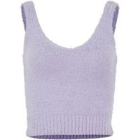 Lilac Fluffy Knit Bralette New Look