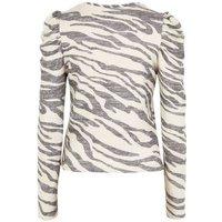 Cream Zebra Print Fine Knit Puff Sleeve Top New Look