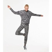 Light Grey Zebra Print Fine Knit Hoodie New Look