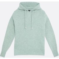 Light Green Fine Knit Ribbed Hem Hoodie New Look