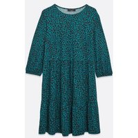 Curves Teal Spot Soft Touch Smock Dress New Look