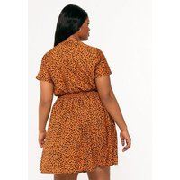 Curves Rust Leopard Print Shirred Waist Dress New Look