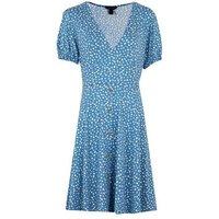 Blue Spot Button Front Mini Tea Dress New Look