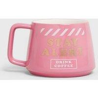 Bright Pink Stay Alert Slogan Mug New Look