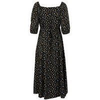 Black Floral Square Neck Tie Back Midi Dress New Look
