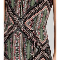 Apricot Green Geometric Zip Front Dress New Look
