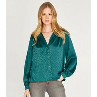 Apricot Green Jacquard Satin Puff Sleeve Shirt New Look