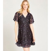 Apricot Black Lace Butterfly Wrap Dress New Look