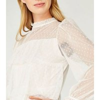 Apricot White Spot Mesh Tiered Top New Look