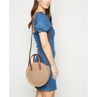 Stone Straw Effect Mini Cross Body Bag New Look