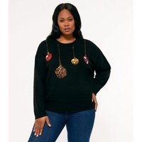 Curves Black Sequin Bauble Christmas Jumper New Look