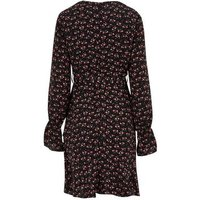Blue Vanilla Black Floral Ruffle Wrap Dress New Look