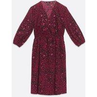 Maternity Bright Pink Leopard Print Wrap Dress New Look