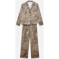 Brown Leopard Satin Wide Leg Pyjama Set New Look