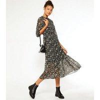 Tall Black Ditsy Floral Tiered Midi Dress New Look