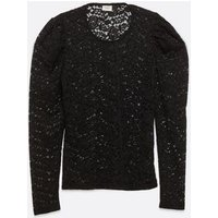 JDY Black Floral Lace Puff Sleeve Top New Look