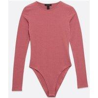Deep Pink Long Sleeve Ribbed Bodysuit New Look