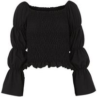 Black Shirred Tiered Puff Sleeve Top New Look