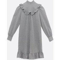 Petite Black Check Frill Trim Mini Dress New Look