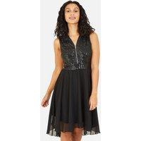 Mela Black Sequin Zip Front Dip Hem Midi Dress New Look