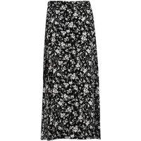 Black Floral Wrap Midi Skirt New Look