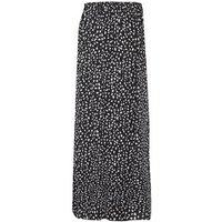 Black Abstract Spot Side Split Maxi Skirt New Look