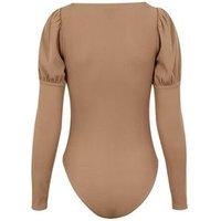 Camel Ribbed Puff Shoulder Bodysuit New Look