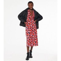 Black Floral V Neck Ruffle Wrap Midi Dress New Look