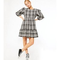 Petite Black Check Puff Sleeve Ruffle Smock Dress New Look