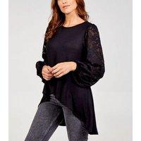 Blue Vanilla Black Lace Sleeve Dip Hem Top New Look
