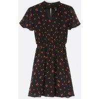 Girls Black Floral Chiffon Choker Dress New Look
