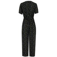 Black Ditsy Floral Button Up Jumpsuit New Look