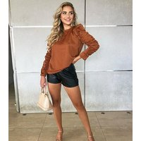 AX Paris Orange Long Ruched Puff Sleeve Top New Look