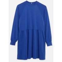 Bright Blue Puff Sleeve Sweatshirt Smock Dress New Look