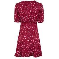 Red Floral Jersey Puff Sleeve Mini Tea Dress New Look