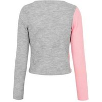 Light Grey and Pink Spliced Colour Block Cardigan New Look