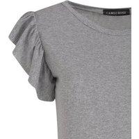 Cameo Rose Pale Grey Frill Sleeve Midi Dress New Look