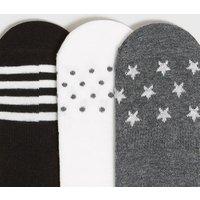 3 Pack Black Stripe Star Invisible Socks New Look