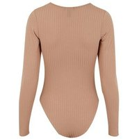 Camel Exposed Seam Ribbed Bodysuit New Look