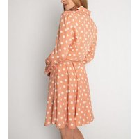 Cutie London Pink Spot Tie Waist Shirt Dress New Look