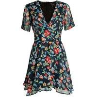 Cutie London Black Floral Chiffon Wrap Dress New Look