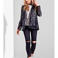 Urban Bliss Black Coated Lace Mac New Look