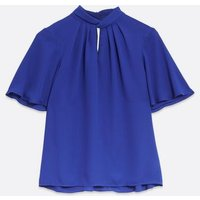 Blue Twist Front High Neck Blouse New Look