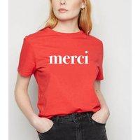 Red Short Sleeve Merci Slogan T-Shirt New Look