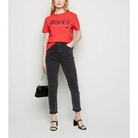 Red Bisous Lipstick Slogan T-Shirt New Look