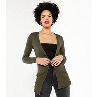 Khaki Pocket Side Long Cardigan New Look