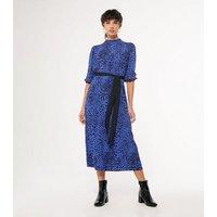 Blue Animal Print Puff Sleeve Belted Midi Dress New Look